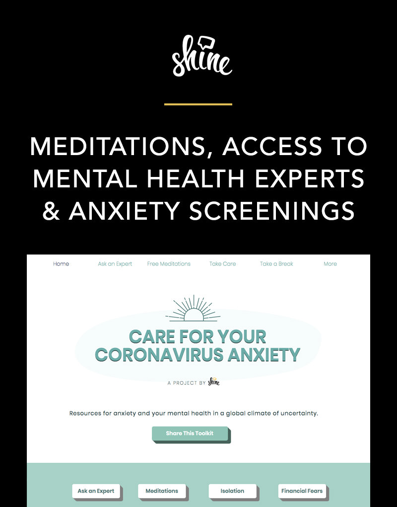 Shine Text's Care For Your Coronavirus Anxiety Mental Health Toolkit